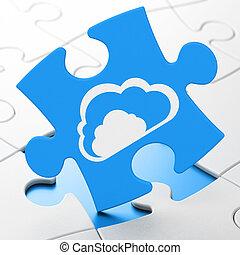 quebra-cabeça, concept:, networking, fundo, nuvem