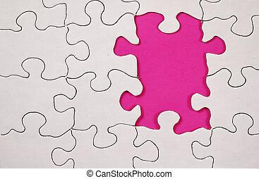 quebra-cabeça, -, cor-de-rosa