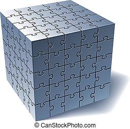 quebra-cabeça, cube., tudo, partes, junto