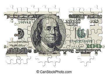 quebra-cabeça, dólar, nós