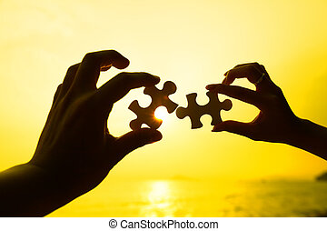 quebra-cabeça, dois pedaços, pôr do sol, ligar, fundo, mãos,...