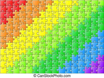 quebra-cabeça, em, cores arco-íris