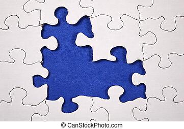 quebra-cabeça, -, escuro azul