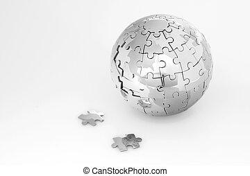 quebra-cabeça, globo metal