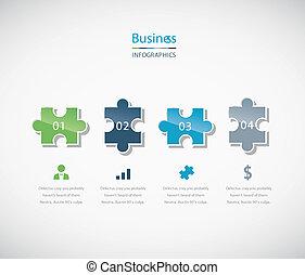 quebra-cabeça, infographic, negócio, pedaço