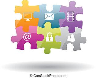 quebra-cabeça, integração, com, internet, selénio