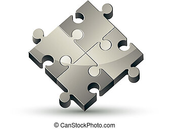 quebra-cabeça, isolado, fundo, vector., branca, ícone