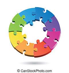 quebra-cabeça, jigsaw, círculo