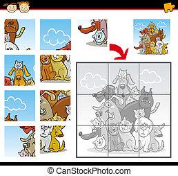 quebra-cabeça, jigsaw, caricatura, jogo, gatos, cachorros