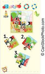 quebra-cabeça, jigsaw, jogo, jardim, jardineiro
