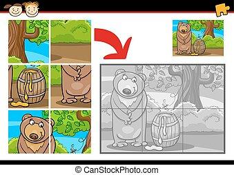 quebra-cabeça, jigsaw, jogo, urso, caricatura