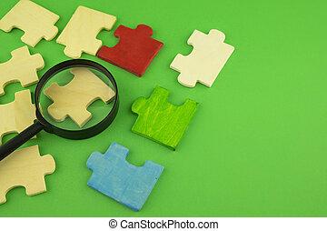 quebra-cabeça, jigsaw, magnificar, pedaços, vidro