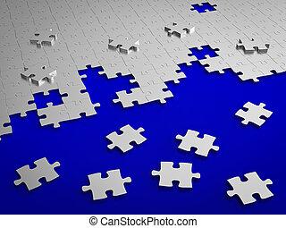 quebra-cabeça, jigsaw, metal