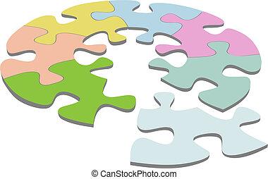 quebra-cabeça, jigsaw, solução, círculo, redondo, 3d