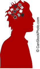 quebra-cabeça, mente, e, cérebro fazendo temporal