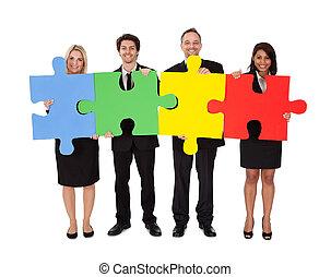 quebra-cabeça, montagem, grupo, pessoas negócio