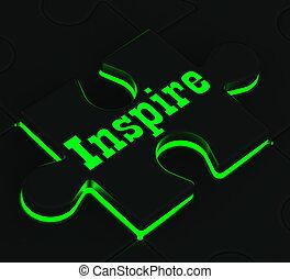 quebra-cabeça, mostrando, inspire, encorajamento, inspiração