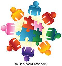 quebra-cabeça, resolvendo, roundtable, equipe