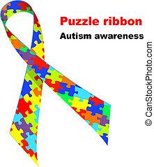 quebra-cabeça, ribbon., autism, consciência, símbolo.