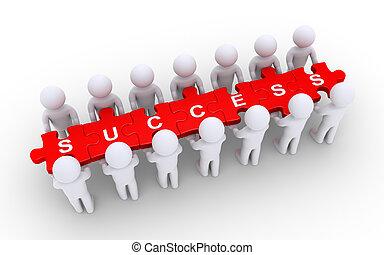 quebra-cabeça, segurando, sucesso, pessoas