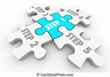 quebra-cabeça, sistema, ilustração, pedaços, 1, passo, 5,...