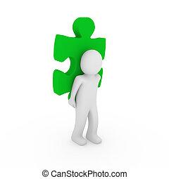 quebra-cabeça, verde, human, 3d