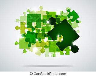 quebra-cabeça, verde