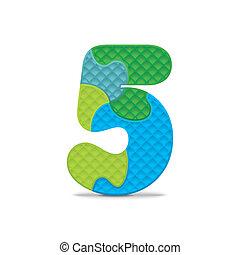 quebra-cabeça, vetorial, 5, número, escrito