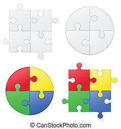 quebra-cabeça, vetorial, jogo, ilustração, ícones