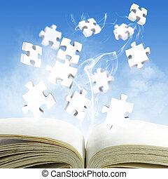 quebra-cabeças, conceito, livro aberto, em branco