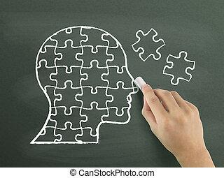 quebra-cabeças, em, cabeça, forma, desenhado, por, mão