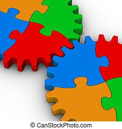 quebra-cabeças, jigsaw, dois, coloridos, engrenagens