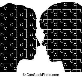 quebra-cabeças, mulher, homem