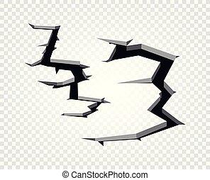 quebrada, concept., ilustração, experiência., vetorial, buraco, transparente, chão