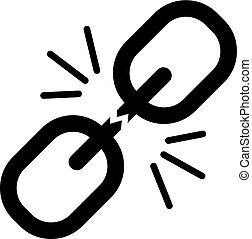 quebrada, corrente, ícone