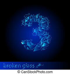 quebrada, dígito, -, três, vidro