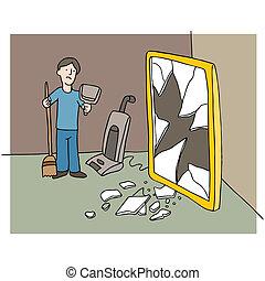 quebrada, espelho
