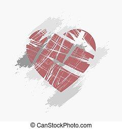 quebrada, fundo, coração