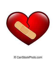 quebrada, gesso, coração vermelho