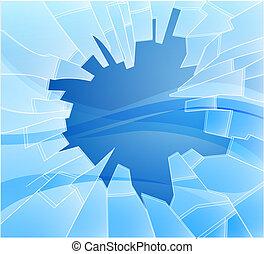 quebrada, ilustração, vidro