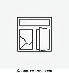 quebrada, janela, mínimo, ícone