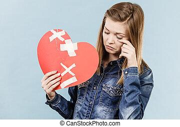 quebrada, mulher, jovem, coração