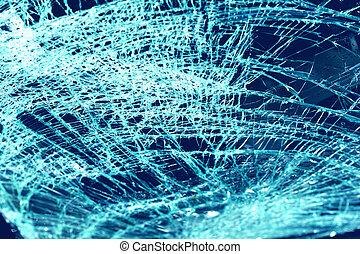 quebrada, pára-brisa, carro, acidente