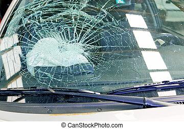 quebrada, pára-brisa, e, airbag