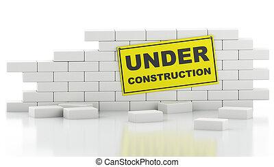 quebrada, parede, isolado, experiência., tijolo, branca, 3d