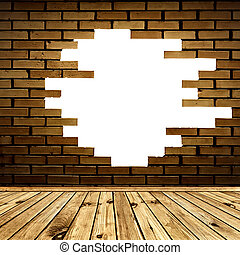 quebrada, parede tijolo, em, a, sala