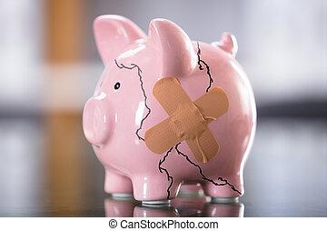 quebrada, piggybank cor-de-rosa