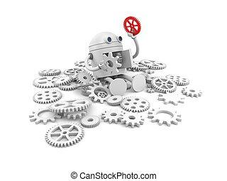 quebrada, robô, com, detalhes, de, seu, mechanism., para,...