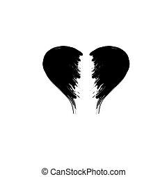 quebrada, silueta, coração