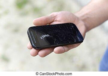 quebrada, tela, ligado, um, telefone móvel